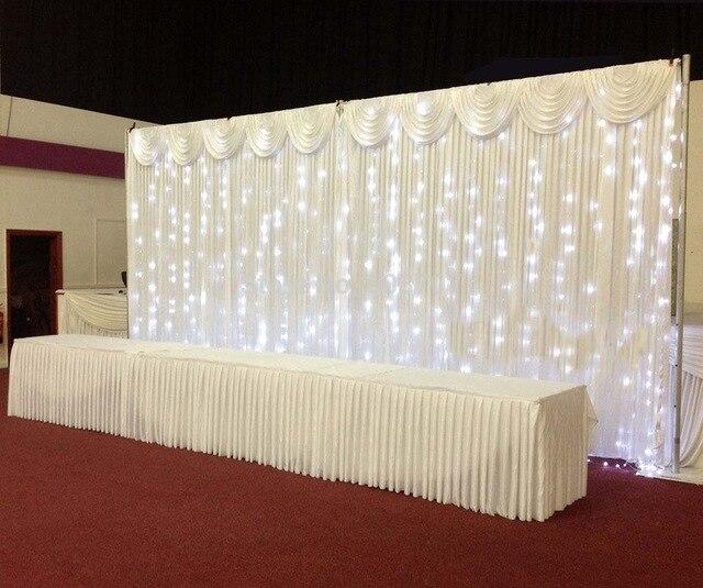 Tuyau et drapé 3*6 M toile de fond de mariage rideau de mariage toile de fond de mariage drapé avec lumière LED avec support de toile de fond en acier inoxydable