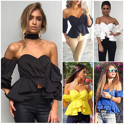 Fashion Women's Casual Off Shoulder Tops Summer Bodycon   Blouse     Shirts   Sunsuit Cothes Party Club   Blouses     Shirt   Clothing Top