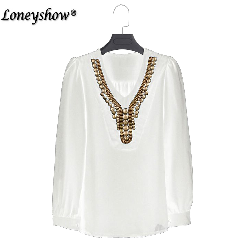 Boho Embroidered Blouses Metal Sequined Spring Autumn Long Sleeve Chiffon Women Blouses White Casual Loose Blouse