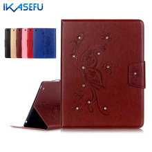IKASEFU Soft Tpu back For Apple iPad 2 3 4 9.7 inch PU Leather Case for ipad2 ipad3 ipad4 Filp Stand Diamond Tablet Cover Wallet
