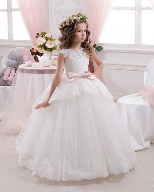 4b39411f7f Elegancki pierwsza komunia sukienki dla dziewczynek suknia balowa biały  opaska dziecięca kwiat dziewczyna sukienki na ślub