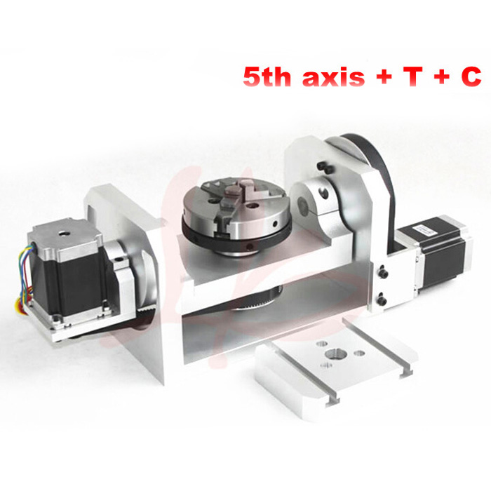 CNC 4th axis 5th axis Rotary axis with chuck table for cnc milling machine