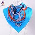 Venta caliente Carta Marca Flores Patrón de la Tela Cruzada de Seda Bufandas Chales Para Las Mujeres 2015 Accesorios de Moda Natural Pura Bufanda de Seda