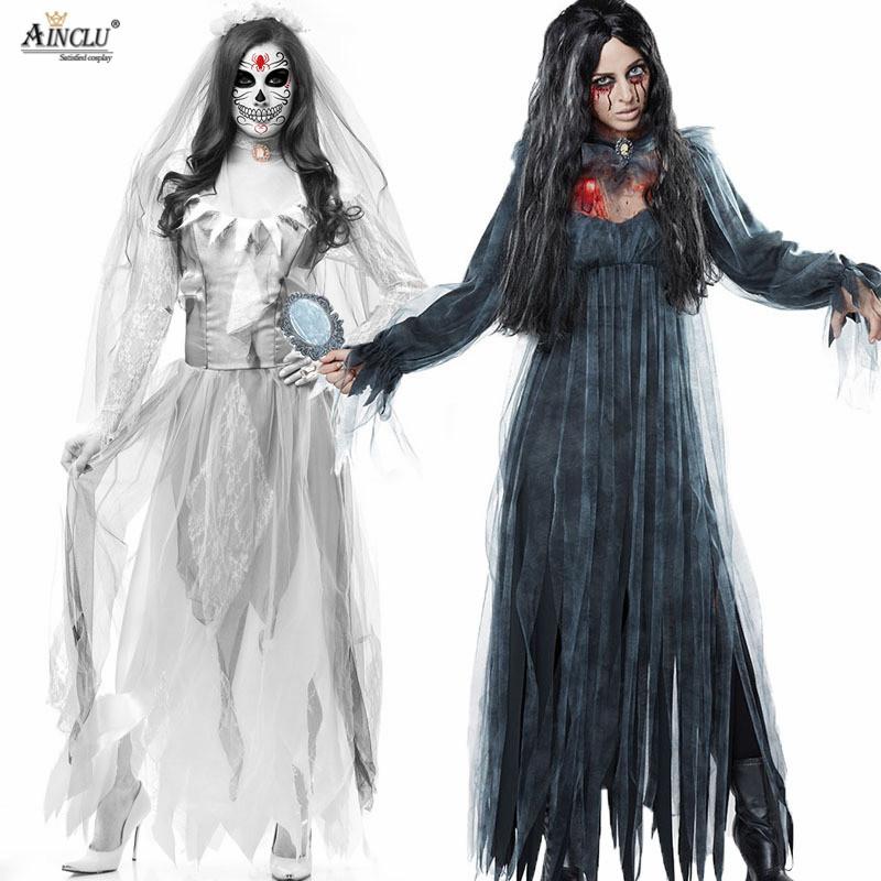 Halloween Ghost bride Festival Goth Costume Women's Adult Dress White Gloves Zombie Vampire Terror Coaplay Costume Spooky Bride