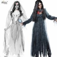 Halloween Ghost bride Festival Goth Costume Women's Adult Dress White Gloves Zombie Vampire Terror Coaplay Costume Spooky Bride