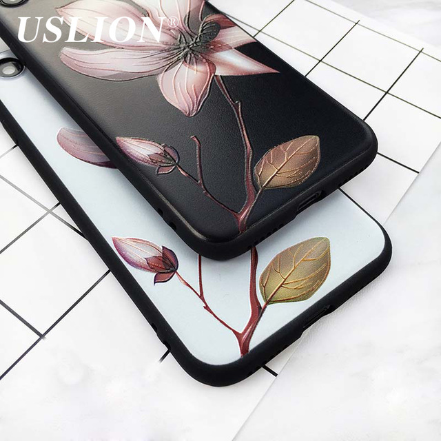 USLION Fashion 3D White Flower Paint Phone Case For iPhone 7 Vintage Soft TPU Back Cover Cases Coque For iPhone7 6 6s Plus