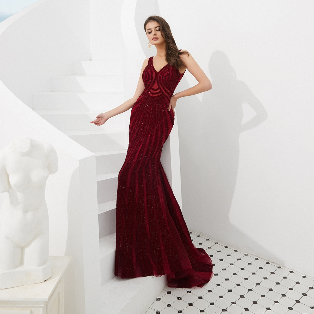 Plus Size Evening Dresses 2019 Beading Sequined Lace Wine Red Mermaid Long Prom Gowns Walk Beside You Occasion Dresses for Women