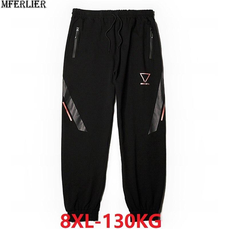 Spring Men Sports Pants Fleece Warm Sweatpants Plus Size Big 6XL 7XL 8XL Winter Man Geometric Pants Stretch Elastic Waist Pants