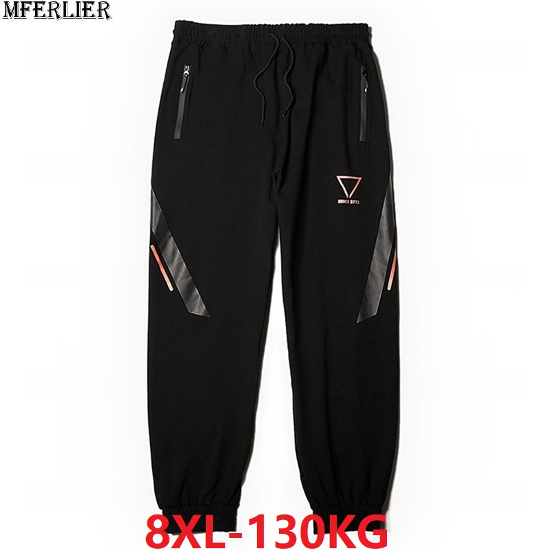 Winter Men Sports Pants Fleece Warm Sweatpants Plus Size Big 6XL 7XL 8XL Autumn Man Geometric Pants Stretch Elastic Waist Pants