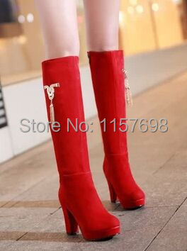 ФОТО Small yards 32 33 boots winter thick heel plus size 41 40 - 43 zipper high-leg boots  high-heeled  red wedding shoes boots