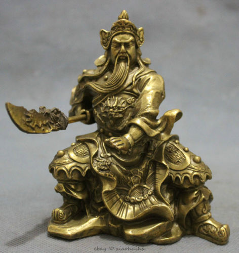 Folk Chinese Pure Brass Carved Dragon Head Warrior GuanGong GuanYu God Statue copper Decoration real BrassFolk Chinese Pure Brass Carved Dragon Head Warrior GuanGong GuanYu God Statue copper Decoration real Brass