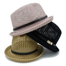 2017 sombreros de verano para las mujeres hombres sombrero plano carta papá  boater Fedora papá plana porkpie borla playa Panamá . 763ad7b5218