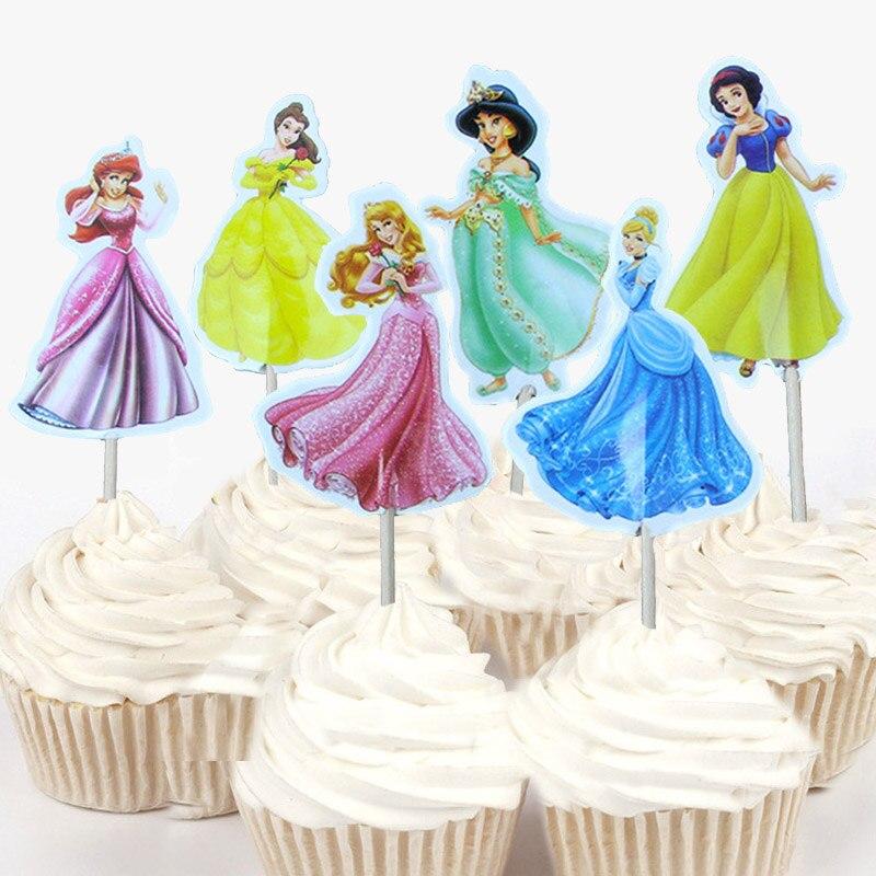 Ariel Princess Aurora Happy Birthday Pink Edible Cupcake Topper