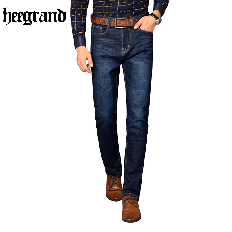 HEE GRAND 2017 British Style Plus Size Men Solid Jeans Full Length Straight Mid Waist Comfortable Male Jeans MKN858 hee grand 2017 spring summer men jeans full length business style slim fitted straight denim trousers plus size 29 40 mkn960