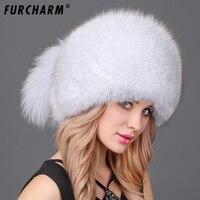 FURCHARM Winter Women Fur Cap Real Fox Fur Hats Headgear Russian Outdoor Girls Raccoon Fur Beanies Cap 2017 New Fashion Fur Hat