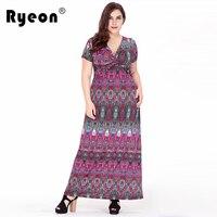 Ryeon Summer Dress Boho Beach Plus Size Women Tunic Floral Print Short Sleeve V Neck Blue