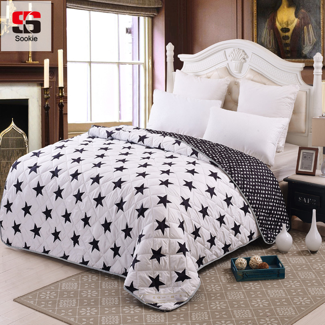 Sookie Black and White Style Summer Quilt Thin Comforter Stiching ... : light summer quilt - Adamdwight.com