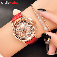 2018 Quartz Watch Women Watches Ladies Brand Luxury Crystal Reloje Mujer Famous Leather Bracelet Wristwatches For Female Clock