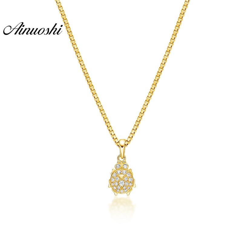 купить AINUOSHI 10K Solid Yellow Gold Pendant Shining Turtle Pendant SONA Diamond Women Men Jewelry Marine Animal Separate Pendant недорого