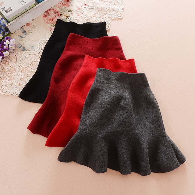 Girls Skirts 2016 Spring and Autumn Children 's Clothing New Fashion Solid Color Korean Knitting Umbrella Skirt Kids Short Skirt
