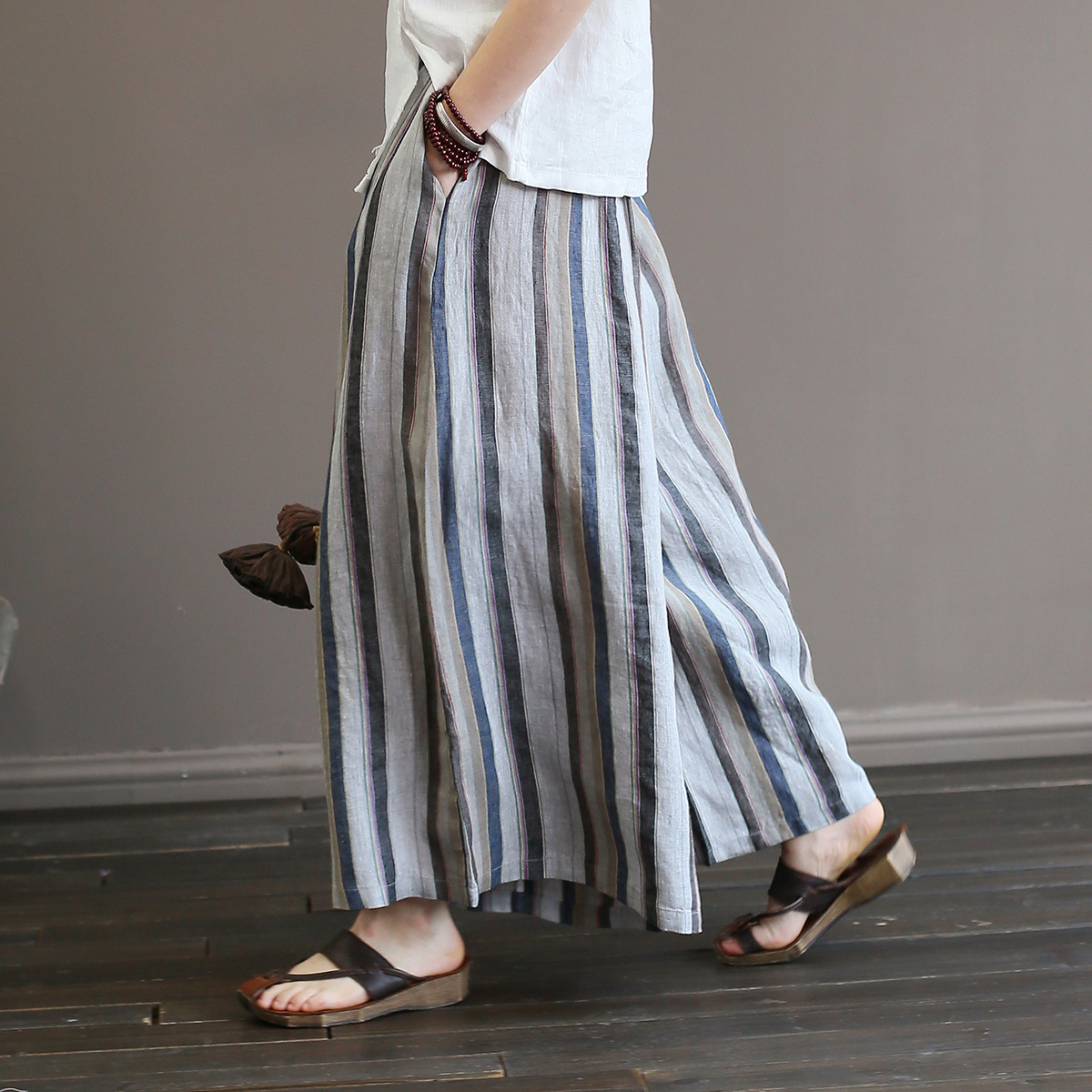 Johnature Women Striped Wide Leg Pants 2018 Summer New Elastic Waist Trouser Casual Vintage Linen Women Loose Full Length Pants