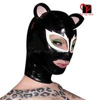 Sexy látex capuzes earhole aberto cat-olho rosa bebê máscaras de borracha cat chapelaria plus size látex gummi capô tt-157