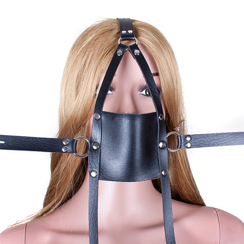 Leather harness belt mouth gag ball mask bdsm fetish head bondage restraints slave sex toys for couples adult games black bondage harness leather belt open mouth gag cover mask slave bdsm restraints adult games fetish sex toys for woman