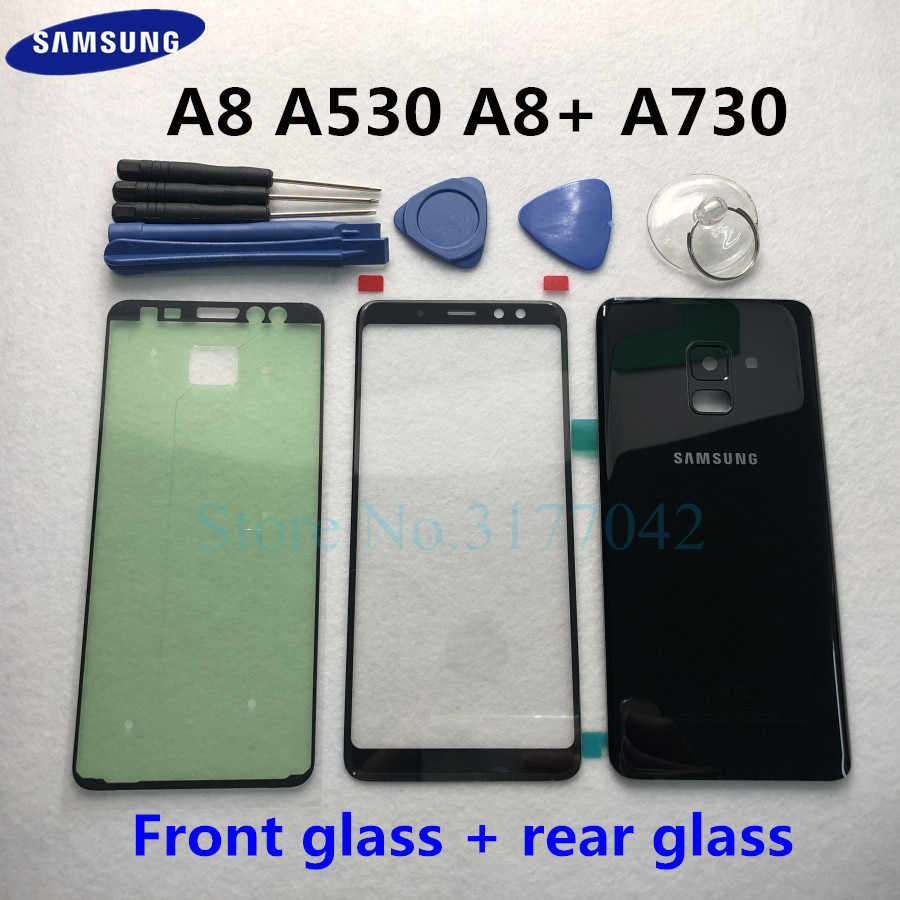 For Samsung Galaxy A8 2018 A8 Plus A8+ A530F A730F Front Touch Panel Outer Lens + Rear Battery Door Back Glass Housing Cover