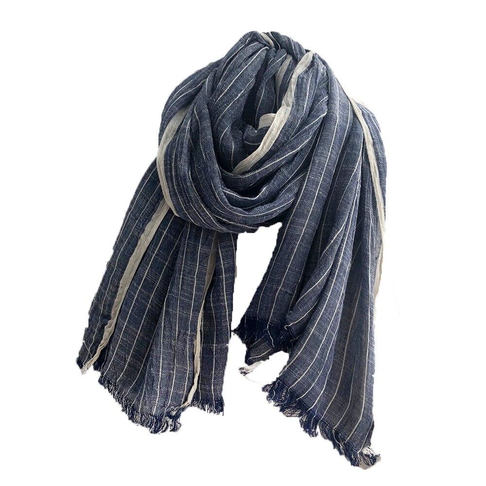 Big Size Navy Blue Vintage Cotton Linen Men's Scarf Winter Women's Poncho Autumn Hijab Female Scarves Shawl Stole Cachecol Wrap