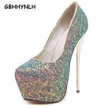 pink sexy pumps party shoes for women 16cm extreme high heels shoes paillette platform heels white pumps blue black heels LJA31