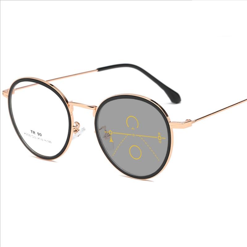47a44c2223e3 Mincl Retro round frame TR90 ultra light progressive reading glasses fashion  Comfortable photochromic multi-