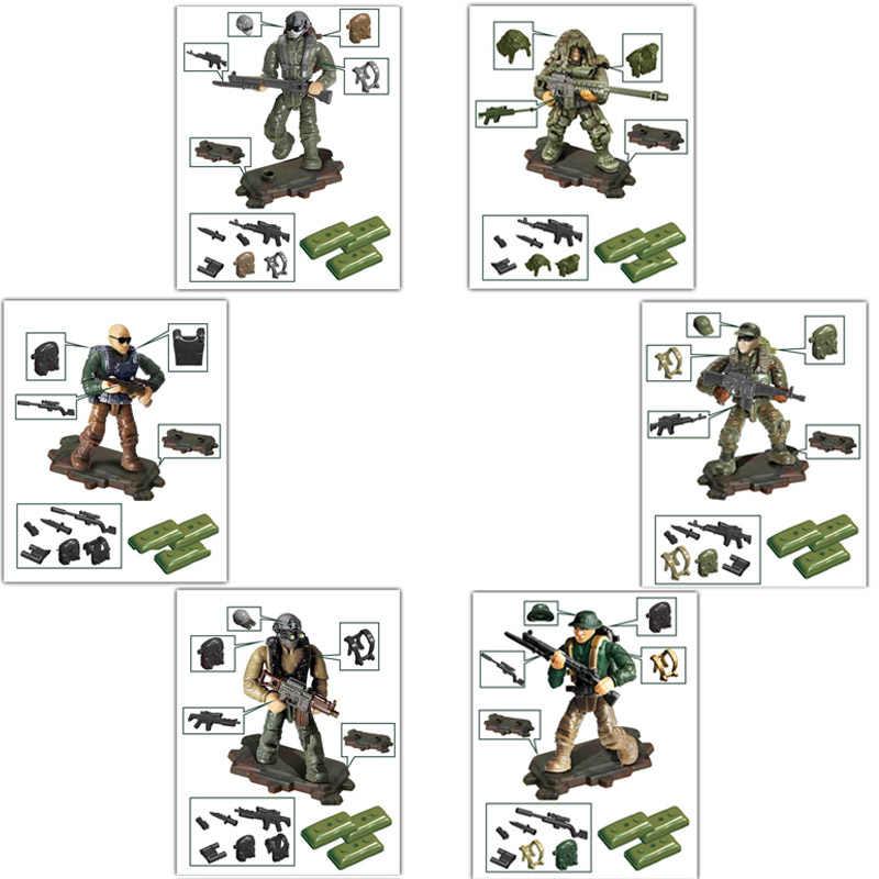 Figuras de acción militares modernas calientes bloque de construcción de la selva de minifigs arma mega ladrillos juguetes para regalos de niños