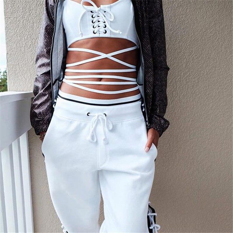 Aliexpress.com Acheter BringBring 2017 Hiphop Hippie De Mode Pantalon  Femmes Street Style Rihanna Pantalon Côté Sangles Creux Lâche Laçage  Pantalon 1762 de