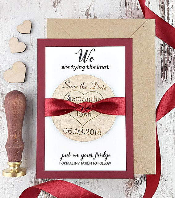 Customize Engraved Rustic Wedding Announcement Invitation Cards With Wood Save The Date Magnets Bridal Shower Party Favors Gifts