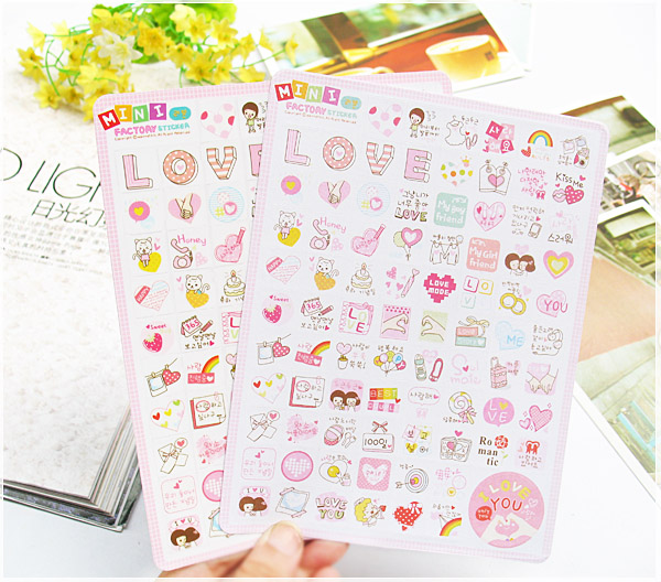 Mini Factory Cute Korean Stickers 2pcs/lot Kawaii Girl DIY Photo Album  Diary Planner Notebook Decorative LOVE Stickers lexington studios 24018g its a girl mini album
