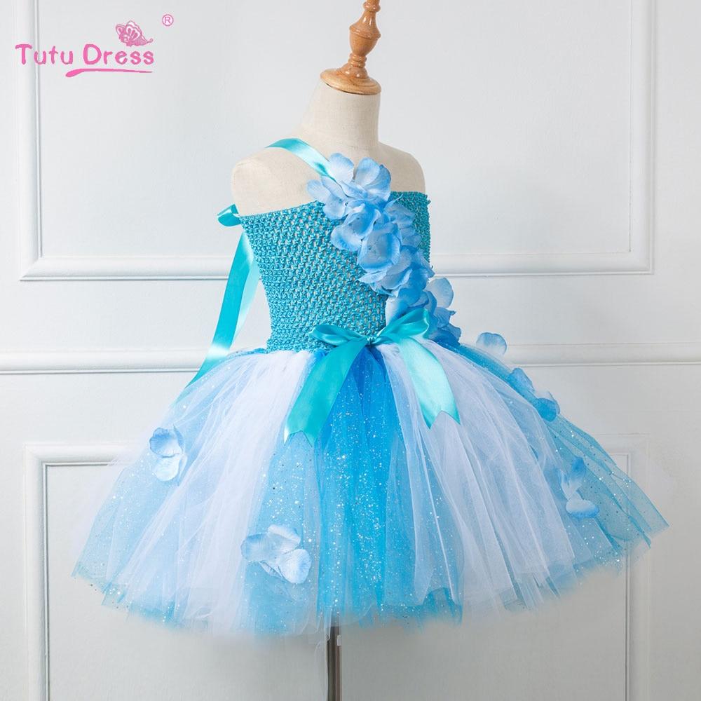 Baby Girl Summer Wedding Dress Elegant Blue Flowers Girls Birthday ...