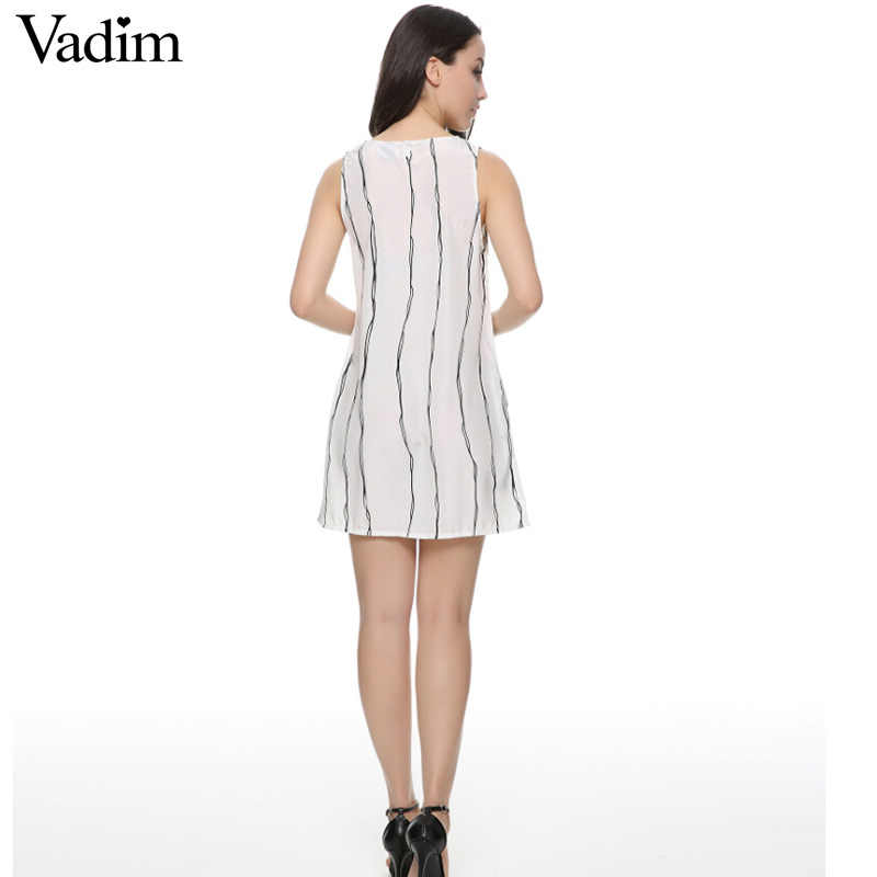 Vadim femmes blanc rayé été robe droite chic basique sans manches mini mignon Vestido robe décontractée QZ1966