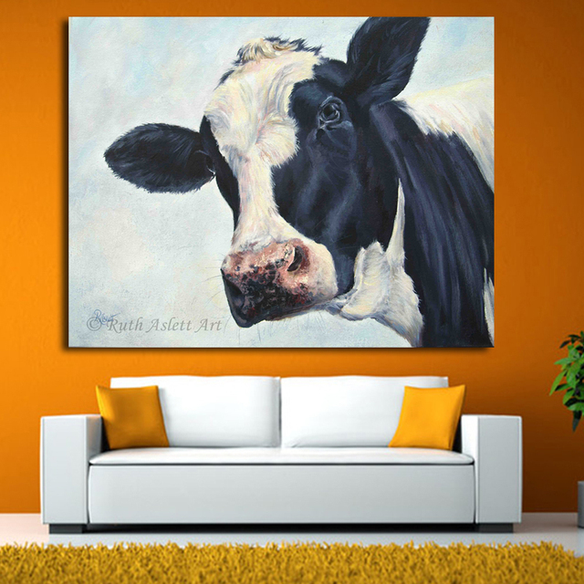 Lovely Home Decor Wall Art Cow Painting Cow Molly Moo Low Oil Painting For Living  Room Modern