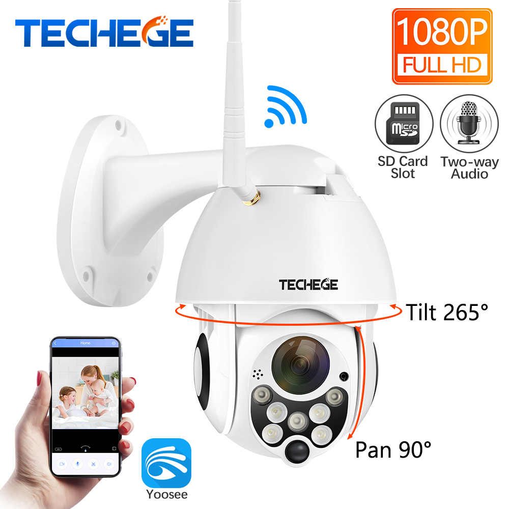 Techege HD 1080P Wireless Wired IP Camera Pan Tilt Two Way Talk 2MP CCTV Security Camera TF Storage Outdoor Waterproof APP View