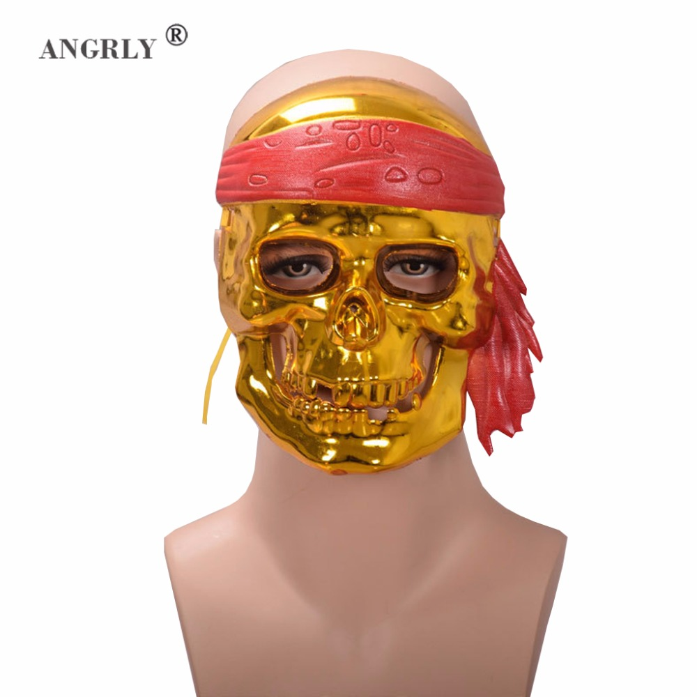 ANGRLY Plastic Masks Cosplay Pirates of the Caribbean Full Face Halloween Birthday Party Festival Party Masquerade skull Mask
