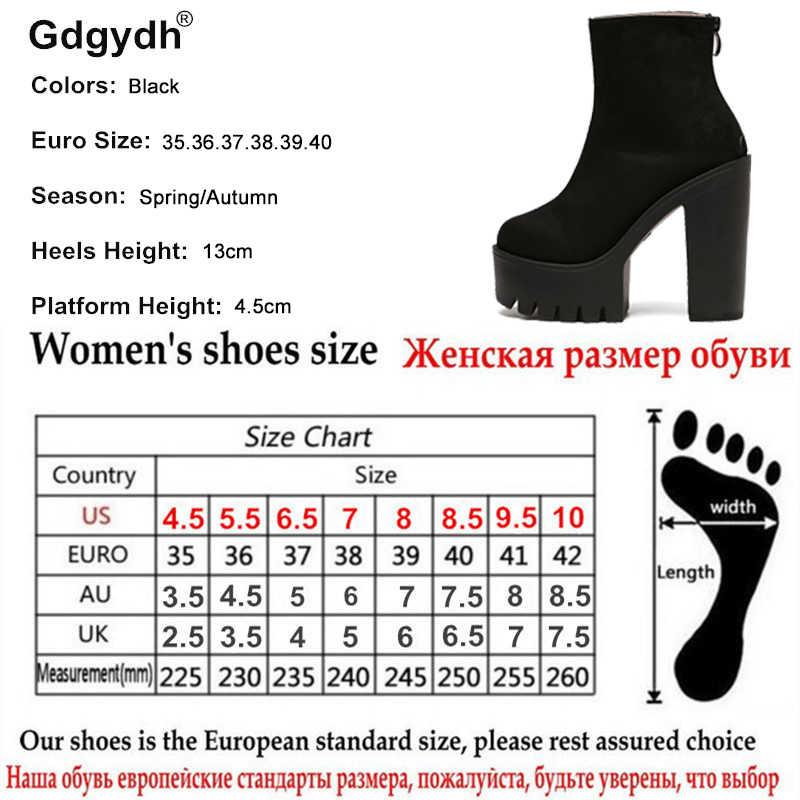 Gdgydh Moda Çizmeler Kadın platform ayakkabılar Sonbahar Yumuşak Deri Kadın parti ayakkabıları yarım çizmeler Yüksek Topuklu 2019 Yeni Siyah Fermuar