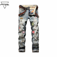 Aelfric Eden Burst Section Badge Jeans Men Do Old Hole Ripped Jeans Straight Slim Fit Cargo