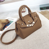 FREE SHIPPING Buckle Bag Lichee Pattern Pu Leather Small Tote Solid Color Crossbody Bag Shoulder Purse