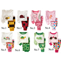 2 шт. комплект ребенок мальчик девочка дети пижамы костюм малышей мультфильм пижамы Розничная Дети 100% хлопка с длинным рукавом пижамы