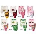 2 pcs set bebê menino menina crianças sleepwear terno criança caricatura pijama Varejo Crianças 100% algodão pijamas de manga longa