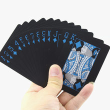 PVC Golden Poker Waterproof Plastic Playing Cards Set Black Color Poker Card Sets Classic Magic Tricks Tool Poker Games(China)