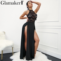 Glamaker Embroidery Halter Split Summer Dress Women Hollow Out Sheer Lace Long Dress Evening Party Sexy