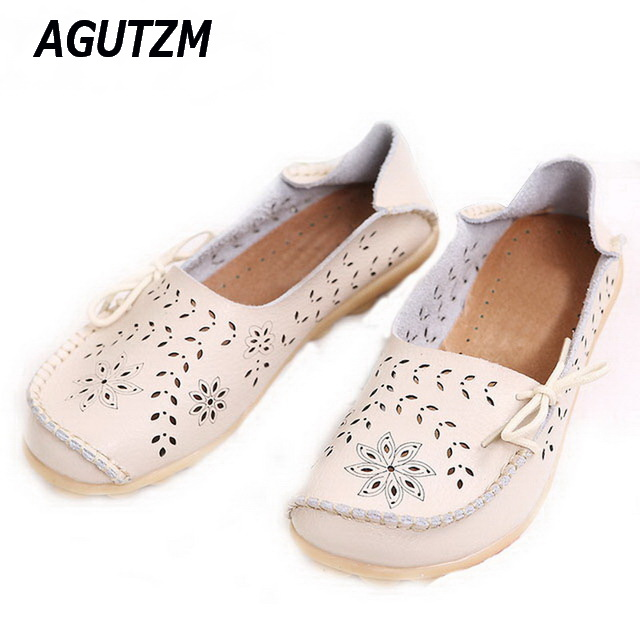 AGUTZM 2018 Spring women flats shoes women genuine leather shoes woman cutout loafers slip on ballet flats boat shoes zdrd women casual shoes high quality designer genuine slipony flats women loafers shoes chaussure femme ballet flats boat shoes