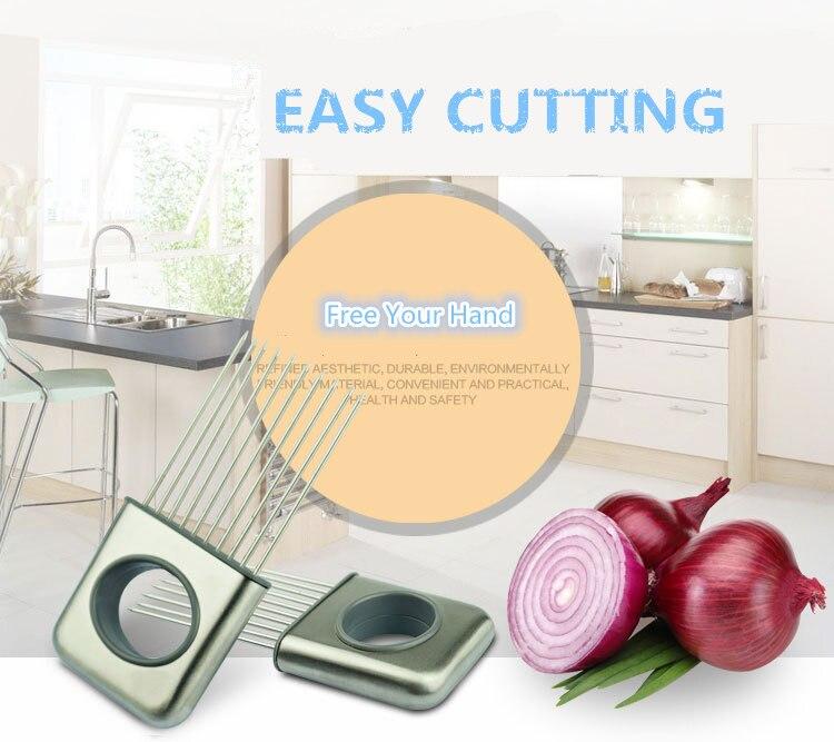 ง่ายตัดหัวหอมมะเขือเทศผู้ถือลายนิ้วมือป้องกันเครื่องตัดเนื้อนุ่มสแตนเลสทำอาหารเครื่องมืออุปกรณ์ครัว