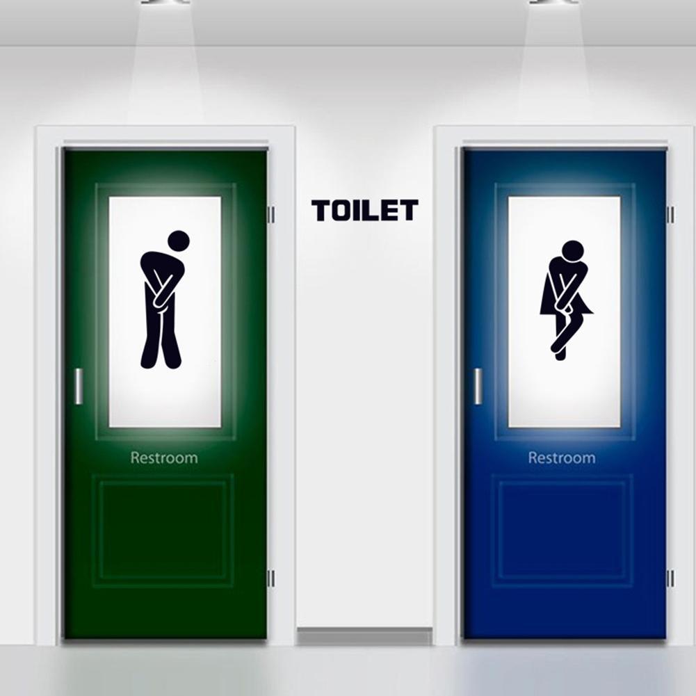Adeeing Waterproof Toilet Sign Wall Sticker Art Mural for Toilet Bathroom Door Decoration